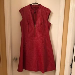Faux Leather Dress (Red)